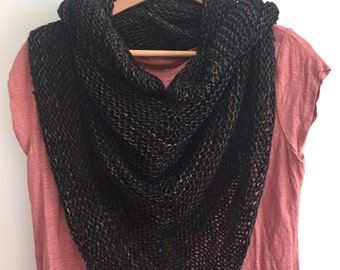 Hand Knit Wrap, Gothic Grey