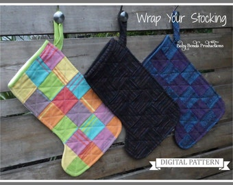 Wrap Up Your Christmas- Easy Quilted Stocking - Beginner Sewing Pattern
