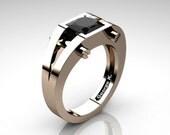 Modern 14K Rose Gold 1.25 Ct Princess Black Diamond Ring R394-14KRGBD