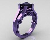 George K Classic 14K Violet Gold 1.25 Ct Princess Black Diamond Engagement Ring R361-14KVGBD