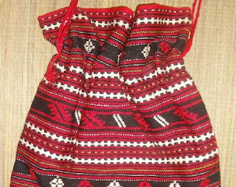 """Red Black White   Traditional Folk HUNGARIAN Drawstring  Bag Purse  12 """" X 13"""" Fully  Lined"""