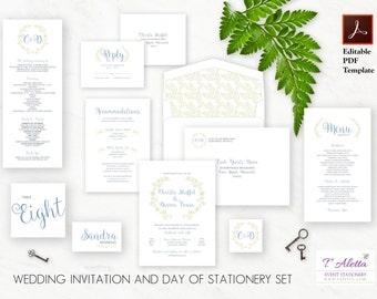 Wedding Stationery Set, Printable Invitation Set, Romantic Invitation Set, Instant Download, Digital Download - CARMWS30-T