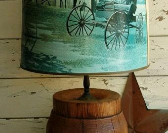 Mid Century Amish Barrel Lamp - Working Vintage Bedside Lighting + Retro Desk Lamp, Vintage Lamp, Office or Home Decor, Decorative Light