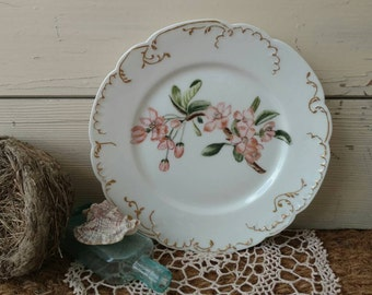 Antique Haviland Limoge China Plate With Hand Painted Pink Flowers - Vintage Porcelain Charger Plate + Home, Wall Decor, Antique Wall Art