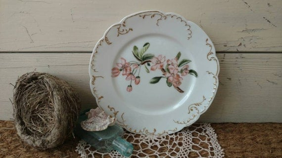 Antique Haviland Limoge China Plate With Hand Painted Pink