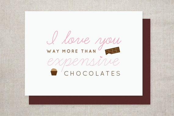I Love You More Than Chocolate, Cute Valentine's Day Card, Anniversary Card
