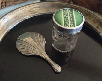 Art Deco Vanity Jar & Small Hand Mirror