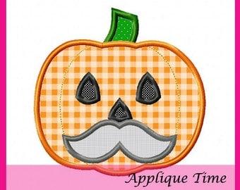 Instant Download Mustache Pumpkin Machine Embroidery Applique Design 4x4, 5x7 and 6x10