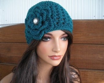 Womens Hat Crochet Hat Winter Fashion Accessories Women Beanie Cloche Winter Womens Hat in Teal - Choose color