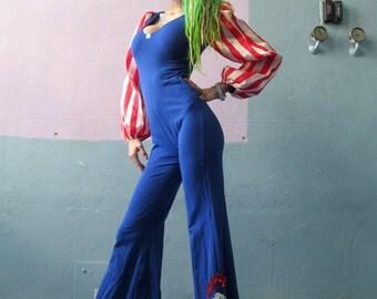 Vtg 70s American Patriotic Jumpsuit / Disco Costume