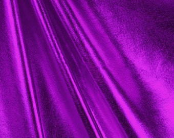 Metallic Foil Spandex Fabric by the yard - Purple