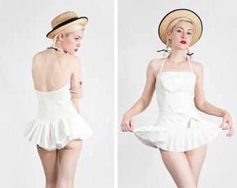 Vintage 1950s/60s White Skirted Halter Swimsuit / Playsuit