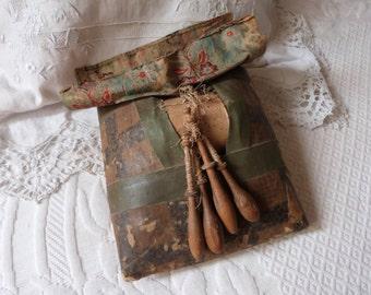 French antique bobbin lace pillow w wooden bobbins w lace pattern pins 1800s lace making cushion fuseaux bobbin lace kit, straw filled