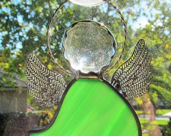 Stained Glass Angel Ornament - Green Opalescent Glass with Crystal Gem Head and Twisted Wire Halo - Name Tags - Tree Ornament - Gift Tags