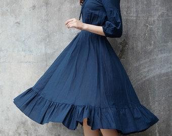 New Linen Dress Sundress Summer Dress in Navy Blue - NC698