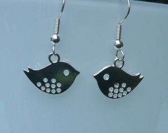 Cute Silver Bird Earrings with Sterling Silver-plated Wires