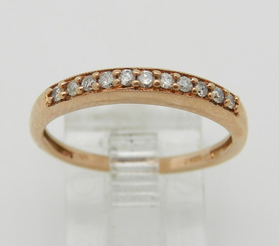 Diamond Wedding Ring Anniversary Band Rose Gold Size 7 Pave-Set Natural