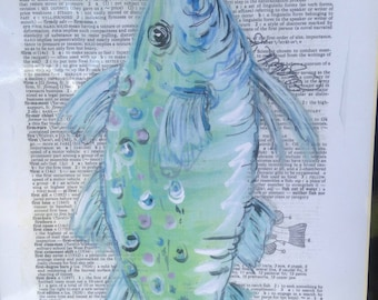 Fish print on dictionary page