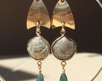 Brachiopod and Indigo Tourmaline      Gold Petal Earrings