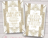 Wedding, Engagement Invitations: Gatsby, Roaring 20s, Gold & White. Samples, Digital Files, or Printed Orders. See Listing/Item Details