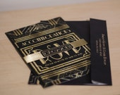 Wedding, Engagement Invitations: Gatsby, Roaring 20s, Gold & Black. Samples, Digital Files, or Printed Orders. See Listing/Item Details