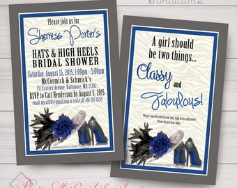 Fun Bridal Shower/Bachelorette/Birthday Invitations. Kentucky Derby, Hat n Heels, Cocktail Party Style. Samples/Printing/Digital Files Avail