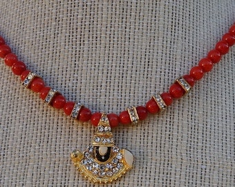 Red Coral Necklace with a Pendant / Tirupati Balaji Pendant Necklace / Red Coral Necklace / Pendant with Rhinestones