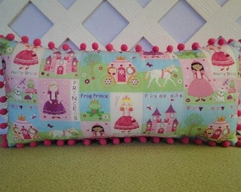 Princess Pillow in Pink, Green, and Blue, Small Girls Pillow, Small Girls Bedroom Accent/ Nap Pillow/ Travel Pillow