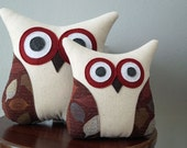 Fall Decor - Autumn Decoration - Owl Pillow - Slate, Burgundy, Green & Orange Autumn Leaves - Small or Large