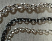 Heavy Sterling Silver Cable Chain - Oxidized - Finished Chain Necklace - Swivel Clasp - Artisan Jewelry Sundance Style