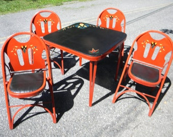 rare fantastic shape clean vintage art deco rastetter kumfort FOLDING CARD TABLE and 4 chairs     pick up only