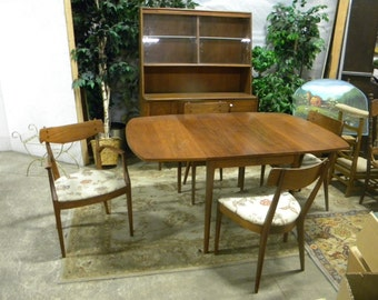 Rare Mid Century 1961 DREXEL Kipp STEWART Declaration Walnut DINING Set  Hutch Table Leave 4 Chairs Part 79