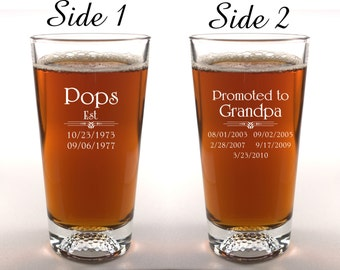 Dad Promoted to Grandpa Beer Glass Golf Based Glass Customizable 2 Side Engraved