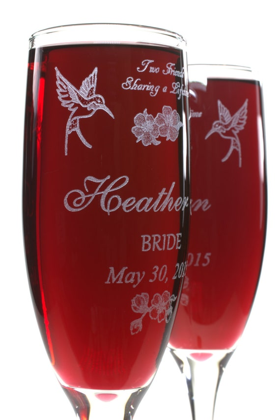 Hummingbird Champagne Flutes Personalized with Poem Names and Date