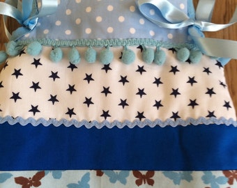 Cotton Fabric Padded Hot Water Bottle Cover Cozy in Beautiful Blue