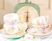 Instant Collection of Vintage Mismatched Teacups and Saucers
