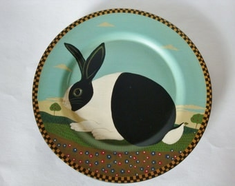 Warren Kimble Black and White Dutch Bunny Rabbit Barnyard Plate Cape Craftsmen