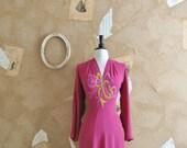 Vintage 1930-40s Gorgeous Beaded Crepe Art Deco Dress - The Mulberry Bush
