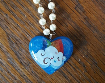 SALE Over The Rainbow Heart Rosary Style Pearl Necklace
