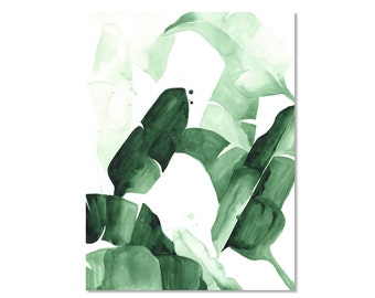 Beverly I Tropical Banana Palm Leaves Watercolor Giclee Fine Art Print Poster Tropical Jungle