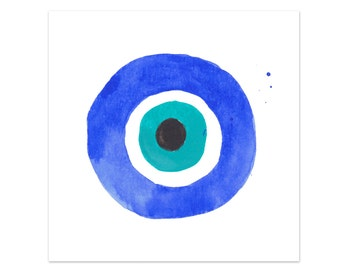 "Evil Eye I Mini Art Print hamsa, specimen, curiosity watercolor giclee print 5x7"", 8x10"""