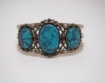 Vintage Silver Tone Cuff Bracelet with Faux Turquoise Medallions