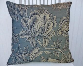 Light Blue Floral  Pillow Cover, Decorative Throw Pillow, 18x18 or 20x20 or 22x22- Pillow Cover- Accent Pillow