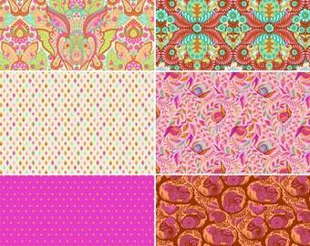 Tula Pink Slow and Steady - Orange Crush bundle 6 prints