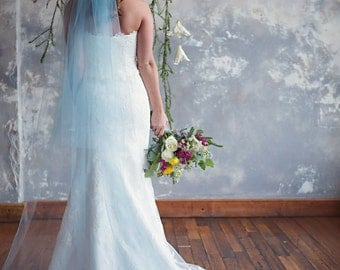 Blue Bridal Cathedral Veil, Light blue wedding veil, Something Blue, two tier, blusher - Williams