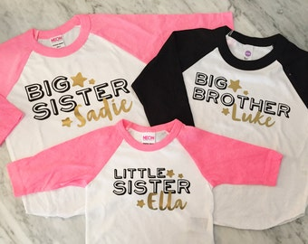 Big brother big sister little sister shirts - kids and infants sizes - 3 shirts