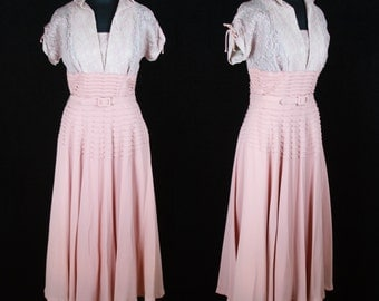 1940s Dress // Pink Rayon and Lace Ruched Sleeve Pintuck Pleat Evening Gown