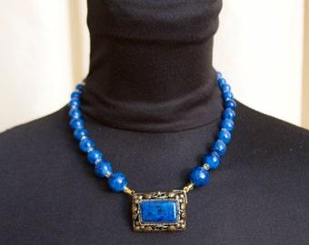 1920's Czech Glass Necklace // Blue Glass Lapis Filigree Necklace Czechoslovakia