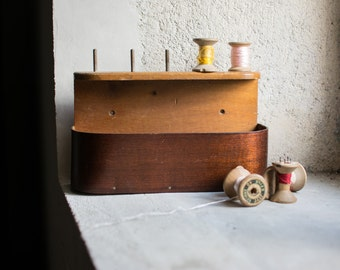 Vintage French Spool Storage // Wood Sewing Box // Sewing Organiser