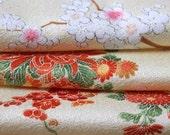 Kimono Silk, Kimono Fabric, Floral Silk, Japanese Kimono, Floral Fabric, Floral Material, Cherry Blossom Silk